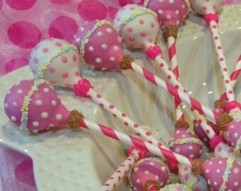 Baby Girl Rattle Cake Pops Newborn Shower