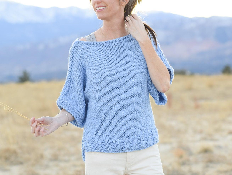 Beginner Knit Sweater Pattern Easy Short Sleeved Sweater