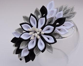 Kanzashi Headband.Black White headband.