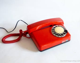 Vintage Red Rotary Phone / Red Telephone White Dial / Vintage Phone