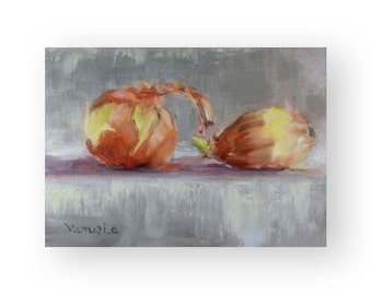 Fine Art Canvas Painting - Oil Painting Still Life with 2 Onions - Original Painting Canvas Art by Carrie Venezia - Brown, Yellow, Gray