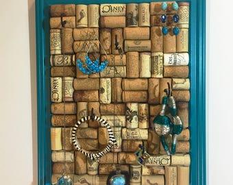 Jewelry Display, Wine Cork Jewelry Holder, Jewelry Organizer, Jewelry Hanger, Key Holder, Cork Crafts, Gift For Wine Lover, Jewelry Storage
