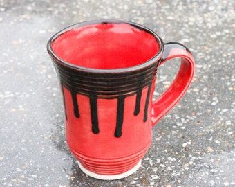 Coffee or Tea Red mug with Black rim and drips, fully glazed in and out. 16 oz mug.
