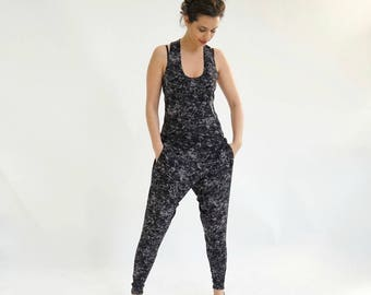 Printed Jumpsuit, Women Romper, Running Clothing, Summer Romper, Casual Jumpsuit, Racerback Top, Fitness Clothing, Designer Jumpsuit