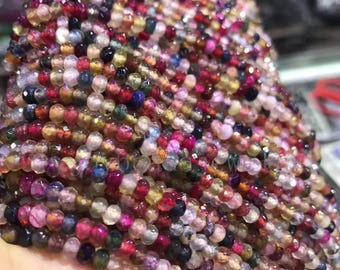 "ON SALE 15.5"" inch Rainbow Faceted  Tourmaline  Beads, Natural  Tourmaline  Beads, 2x4mm  DIY Jewelry"