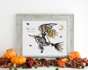 Halloween Witch Decoration, Practical Magic Quote, Hocus Pocus Decor, Basic Witch Party Decorations, Halloween Decor Birthday Witch wall art