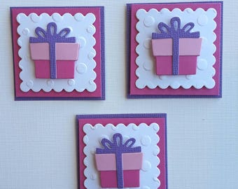 Birthday Scrapbooking Embellishments Set of 3, Card Making, Scrapbooking, BirthdayTags, Birthday Die Cuts, 3 Dimensional, Paper Piecing