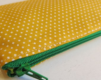 Yellow spotty pencil case - bright yellow spotty pouch - makeup brush pouch - yellow pencil case