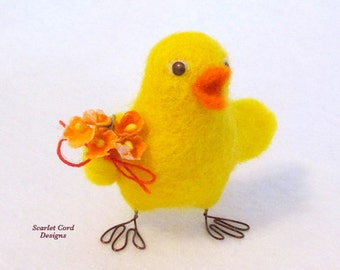 Easter Chick, Needle Felted Chick, Baby Chick, Yellow and Orange, Felted Chicken, Sculpture