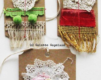 Gift tags, one of a kind, handmade, set of 3, vintage lace and trim