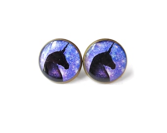 Galaxy Unicorn Stud Earrings - Pastel Goth & Soft Grunge Funny Pop Culture Jewelry