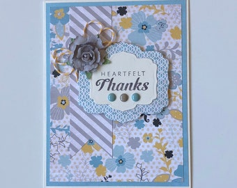 Thank You//Heartfelt Thanks//Just A Note//Gratitude//Blank Inside//Greeting Card