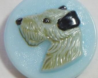 Dog Czech Glass Button