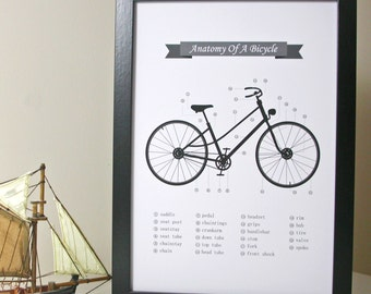 Anatomy Of A Bicycle Print - black and white bike print - print for bike lover