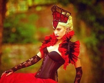 Red taffeta gothic victorian shrug bolero decorated with black feathers