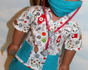 18 Inch Doll (like American Girl) White & Teal Dog Print Scrubs with Stethoscope (5 piece set)