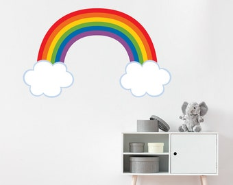 Rainbow Wall Decal - Playroom Wall Art - Children Bedroom Decor - Outline Cloud for White Walls