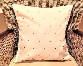 Cream pillow cover, metal studs pillow, Decorative Pillow Cover,  cushion cover 16 x 16, accent pillow, 16 x 16 pillow cover, modern pillow