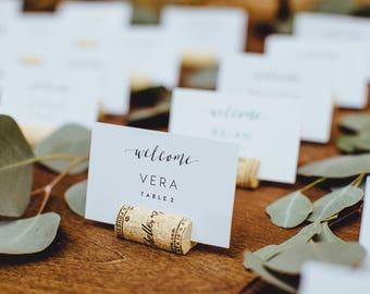 Winery Logo Corks, Wine Cork Place Card Holder or Place Setter, Wine Cork Name Badge, Name Card Holder, Wine Theme Wedding Place Card Holder