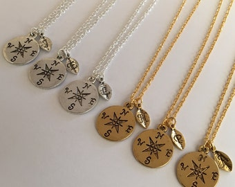Hot Sale* 50% Off Personalized Compass Gold or Silver Plated Necklace with Your Birthstone or initial Charm Bridesmaid gift Girlfriend gift