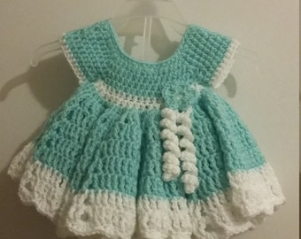 Crochet Baby dress, Baby shower gift, coming home outfit.  Ready to ship!