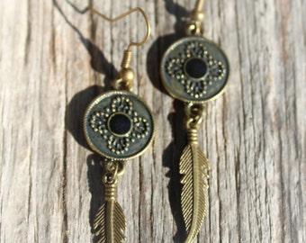 Brass and Black Enamel Feather Earrings