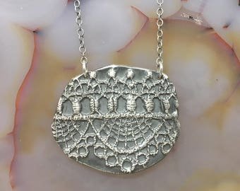 Oxidized Silver Lace Pendant