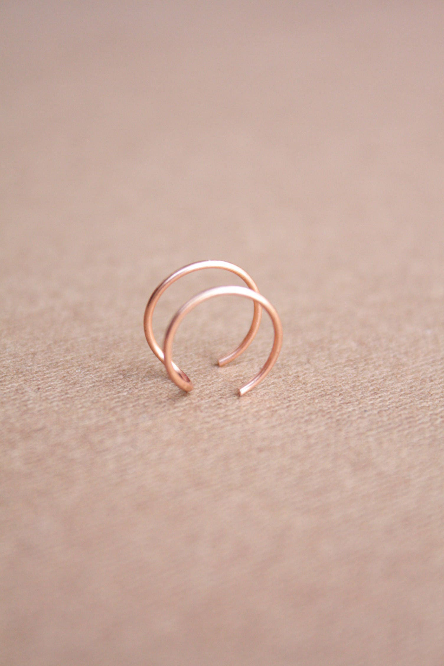 22 kt Rose Gold Tragus Ring Ear Cuff Conch Ring Double Tragus