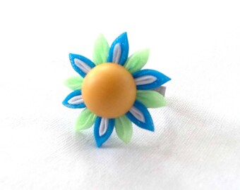 Cute Colorful Kanzashi Flower Statement Ring Turquoise Mint Peach Adjustable