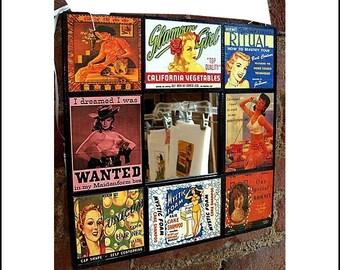 vintage beauty ad wall mirror  pin up girl 1950's retro rockabilly burlesque kitsch
