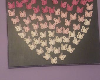 Butterfly heart on a canvas