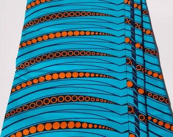 Teal & Orange African Fabric; Ankara Fabric; African Clothing; African Fabric in yard; African Headwrap;Fabric in yards; Blue Fabric