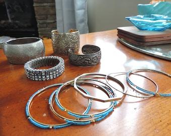 Bracelets Large Lot of Bangles and Bracelets Silver Tone Jewelry Lot of Bracelets Rhinestone Bracelet Vintage Jewelry