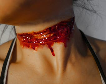 SFX Prosthetic Latex LARGE Knife/Slit/Cut/Neck Wound. Costume/Theater/Halloween/Cosplay Make-Up