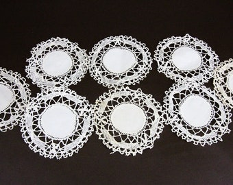 8 Vintage Lace Doilies in Cream