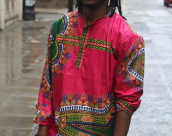 African Top - African Shirt - Ankara Shirt - Dashiki Shirt - Festival Shirt - Wax Print Shirt Mens - Festival Clothing - African Print Shirt