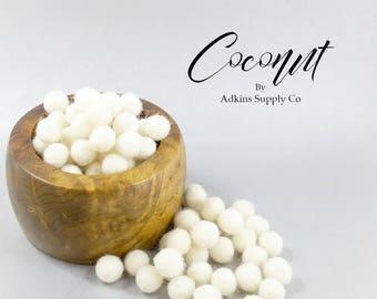 White Felt Balls - Coconut - 10mm Wool Felt Balls - 15mm Wool Felt Balls - Craft Supply Balls - Handmade Felt Balls - Wool Pom Pom