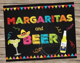 5x7 Printable Margaritas and Beer / Fiesta / Cinco De Mayo / Nacho Bar Party Menu *INSTANT DOWNLOAD*