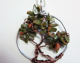 Autumn, Earth tone nugget chips Tree of Life, Pendant wired with silver wire base antique copper wire Circle of Life.