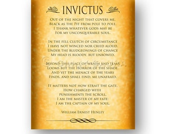 invictus by william ernest henley phrased Beautiful poem by william ernest henley, 1888 (book of verses) 'invictus' means  'unconquered' in latin said to have inspired nelson mandela during his.