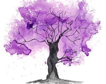 Fine Art Print of my Abstract Watercolour Tree Painting in Purple - available in sizes 7 x 5, 10 x 8, 12 x 10, 14 x 11, 16 x 12 and 20 x 16
