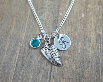 Personalized Running Shoe Necklace - Hand stamped Monogram Runner Necklace - Initial, Birthstone Necklace  - Track Necklace