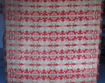 Antique Jacquard Coverlet, Signed U0026 Dated, Queen Or King, Red,Olive Green