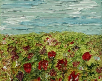 Flower Meadow, Oil Painting on Deep Edge Canvas (Wall Art, Impressionistic, Home Decor, Original Painting, Impesto)