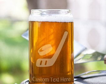 Hockey Stick and Puck Customizable Etched Glassware Beer Can Glass Barware Gift