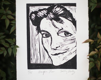 Harper Lee Linocut Print for the Book Lover-- literary gifts for teacher -- classic literature gift -- Nelle Harper Lee