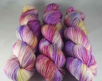 Hand Dyed Sock Yarn, hand dyed wool, variegated sock yarn, nylon sock yarn, pink, purple, yellow