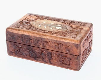 Vintage handcarved wooden box with hinged inlayed lid