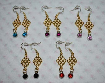Gold earrings with rhinestones