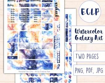 Watercolor Galaxy ECLP Weekly Kit   Printable Art Sticker Set, Erin Condren Life Planner Stickers, Digital Download, Hand-Drawn Stars